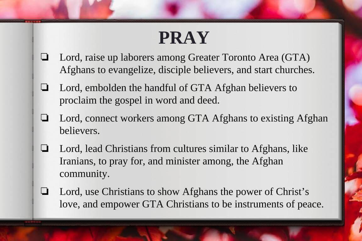 Global Gates Afghan of Greater Toronto Area Prayer